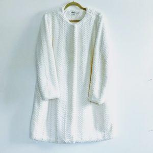 Snow white faux fur lined coat